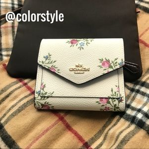 COACH Cream & Pink Roses Wallet